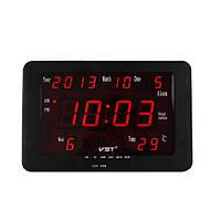 Часы сетевые 802 W-1 красные настенные, электронные часы, сетевые часы,часы радио,говорящие часы
