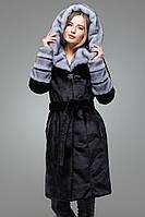 Красивая шуба Рокси под мутон с капюшоном черная. Размеры 42-52