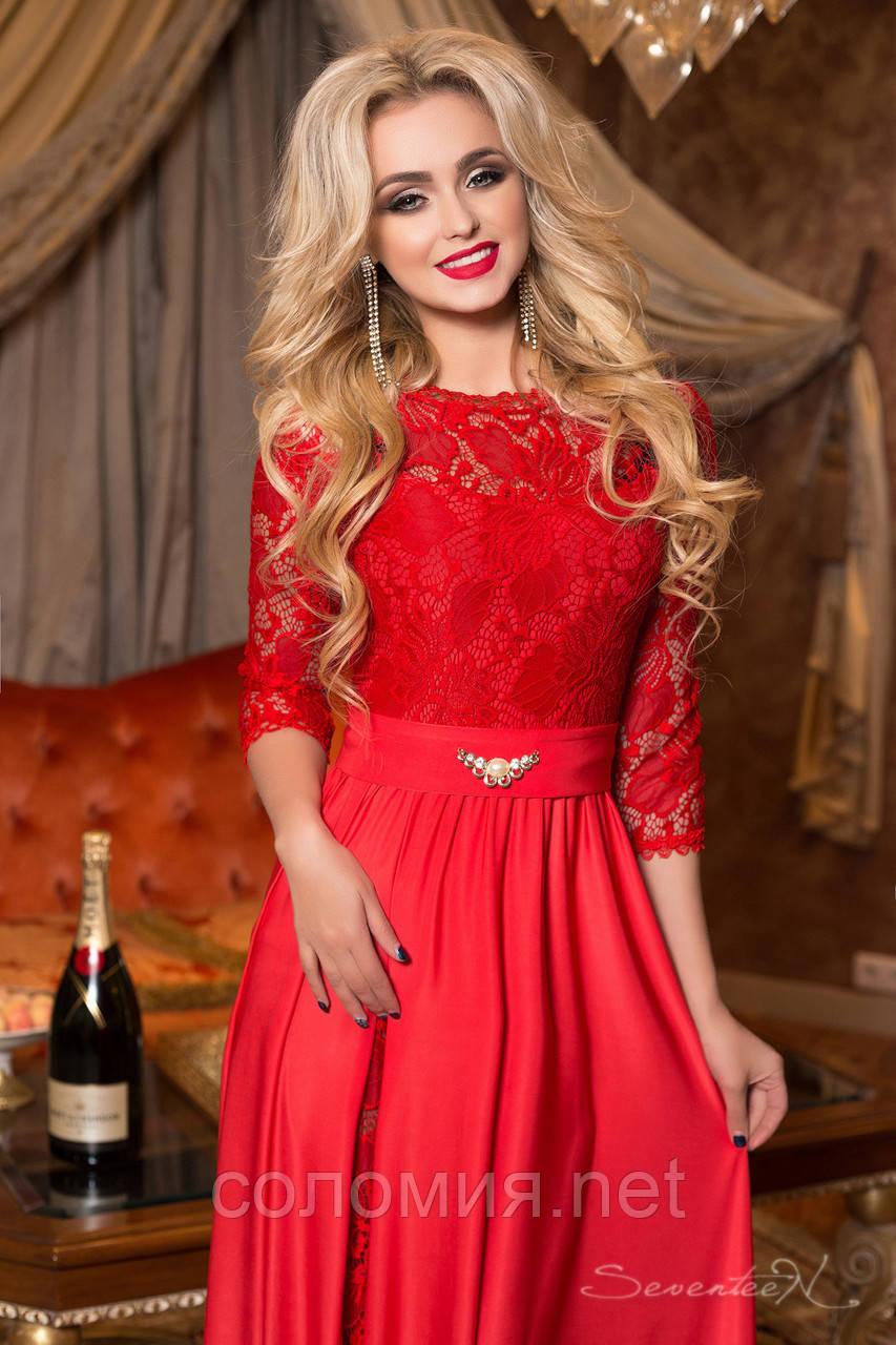 e737e51f906 Красивое макси-платье с гипюром красное  продажа