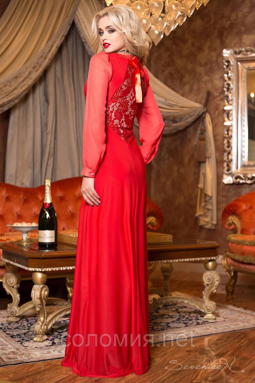 23aec115320 Красивое красное макси-платье с гипюром на спине  продажа