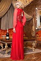 Красивое красное макси-платье с гипюром на спине