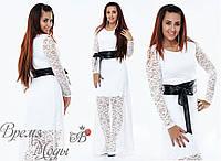 Белое нарядное платье с поясом. Р-ры от 42 до 54. 4 цвета.