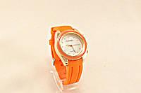 Женские часы CHANEL оранжевый ремешок каучук
