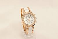 Женские часы CHANEL Белые с золотом (копия)