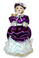 Кукла сувенирная на подставке  в фиолетовом наряде, 50 см.