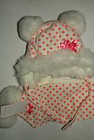 Комплект на девочку шапка и шарф,зимний в горошек.