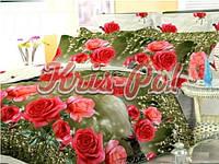 """Комплект постельного белья полуторный, бязь ГОЛД  3D """"Розы на зеленом фоне"""""""