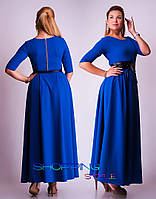 Женское Платье длинное с поясом из эко-кожи