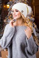 Модная зимняя женская шапка с натуральным помпоном