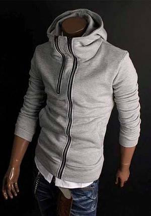 Мужская толстовка с белой молнией серого цвета, фото 2