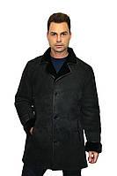 Дубленка мужская, длинная, в черном цвете, на пуговицах (батал) /  sheepskin coat for men 307/11, фото 1