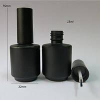 Флакон черный с кисточкой для гель-лаков 15 мл