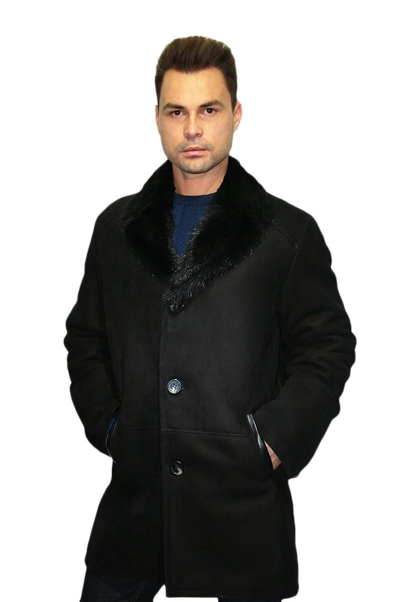 Дубленка мужская, удлиненная, из натурального сырья. Воротник - классический /  sheepskin coat for men 340