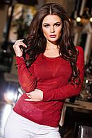 Модная бордовая кофточка из люрикса с бантиками на спине. Арт-9263/57