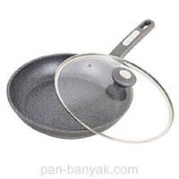 Сковорода с крышкой d24 см h4,8 см алюминий с гранитным  покрытием Kamille