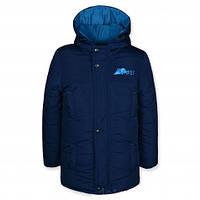 Детская зимняя куртка на мальчика подростка, синяя, р.116,122