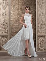 Деликатное свадебное платье прямого силуэта из гипюра со съёмной юбкой