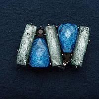 """Брошь Фэнтэзи серые и голубые вставки """"чешское стекло"""" 4*2см"""