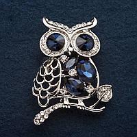 """Брошь Сова, ажурная на ветке синие кристаллы цвет металла """"серебро"""" 4,5 см"""