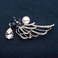 """Брошь Крыло ажур Синий кристалл с подвеской и жемчужиной  цвет металла """"серебро"""" 6 см"""