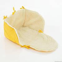 Матрасик в санки на овчине, цвет желтый