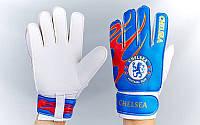 Рукавиці воротарські юніорські FB-0029-03 CHELSEA (PVC, р-р 5,6,7 синій-червоний-білий)