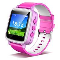 Оригинальные детские часы с GPS трекером Q80 (розовые) c цветным экраном, фото 1