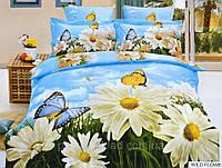 Постельное белье Wild flower Exclusive сатин, фотопринт, 3D, ТМ Arya (Ария) Турция цветы ромашки бабочки