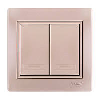 Lezard MIRA выключатель двойной Жемчужно-белый металлик 701-3030-101