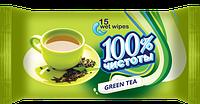 Влажные салфетки 100 % чистоты Зеленый чай, 15 шт