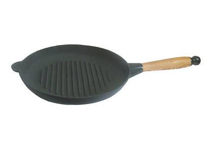 Чугунная сковорода гриль 24 см с деревянной ручкой