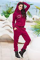 Классный   ангоровый спортивный костюм с капюшоном, цвет марсала. Арт-9269/57