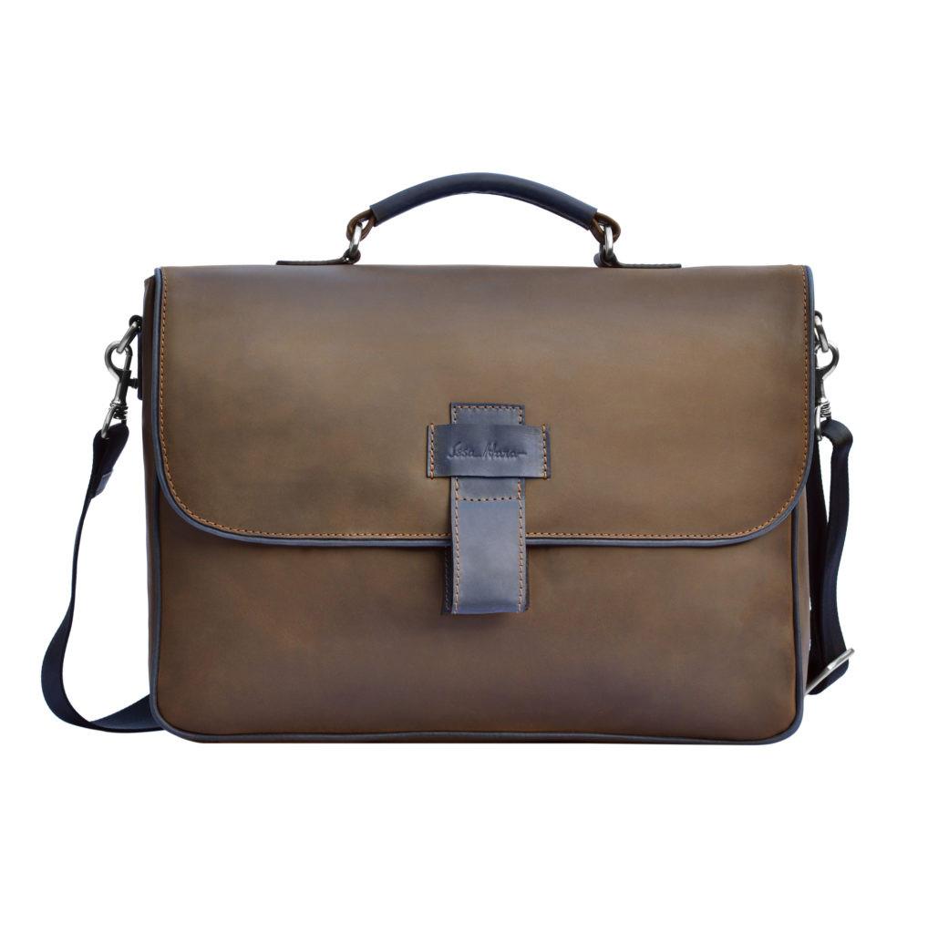 Кожаный мужской портфель Issa Hara B20 коричневый
