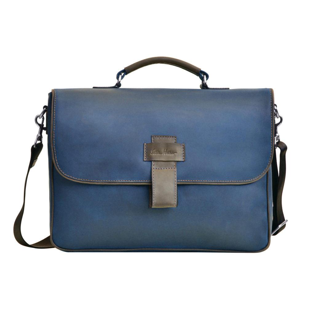Кожаная мужская сумка Issa Hara B20 синяя