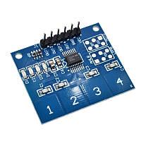 4 Канала цифровой сенсорный ёмкостной датчик переключатель кнопка модуль TTP224 TTP-224 для Arduino, фото 1