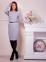 """Приятное повседневное платье с карманами и поясом, дополнено принтом """"сердечки"""" или """"горох"""""""