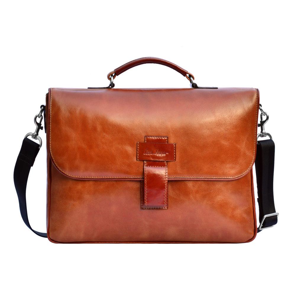Кожаный мужской портфель Issa Hara B20 коричневый рыжий
