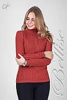 Красивый женский теплый свитер из пряжи