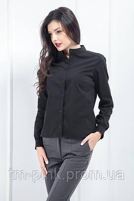 """Блуза зі стійкою стрейч """"Soft"""" чорний"""