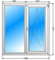 Металлопластиковое окно WDS R500 1300x1400, 2 стекла с энергией, отлив, подоконник