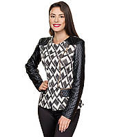 Куртка женская  с кожаными рукавами