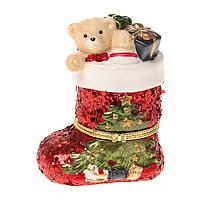 Шкатулка керамическая Новогодний подарок 12 см 180-616