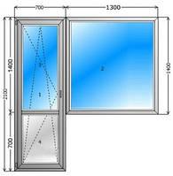 Металлопластиковый балконный блок Steko 2280x3800