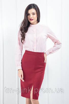 """Блуза зі стійкою стрейч """"Soft"""" рожевий"""