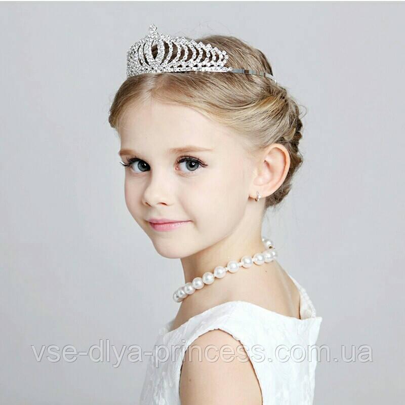 Детская корона, диадема для девочки под серебро с прозрачными камнями, высота 4,5 см.
