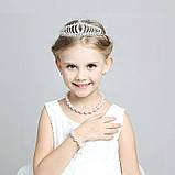 Детская корона, диадема для девочки под серебро с прозрачными камнями, высота 4,5 см., фото 2