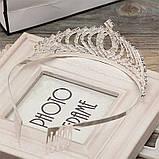 Детская корона, диадема для девочки под серебро с прозрачными камнями, высота 4,5 см., фото 8