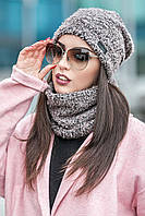 Комплет шапка + шарф стойка № 178, сірий графіт