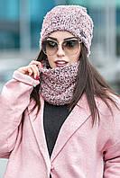 Комплет шапка + шарф стойка № 178, рожева