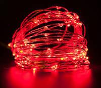 Светодиодная гирлянда нить 10 метров 12 вольт красная